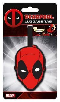 Marvel Comics Official Deadpool Head Mask Logo Luggage Travel Tag Suitcase Bag