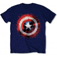 Captain America Splat Shield Image Navy Blue Mens T Shirt Official Marvel Comics