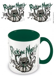 Rick and Morty Official Monster Troubles Green Inner Mug Cup Tea Coffee