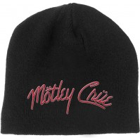 Motley Crue Official Unisex Adult Red White Logo Black Beanie Hat Heavy Metal
