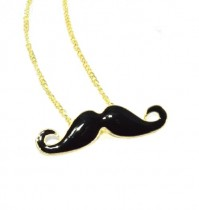 Moustache Necklace Chain Black Gold Quirky Kitsch Fashion Costume Handlebar