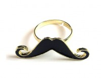 Moustache Ring Black Gold Adjustable Size Enamel Vintage Fashion Jewellery