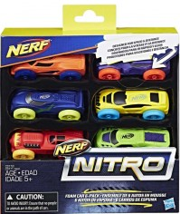 Nerf Nitro Refill 6 Pack Of Assorted Foam Cars Ages 5+ Stunt Kids Childrens