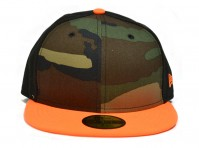 New Era 59Fifty Cap Size 7 Camouflage Peak Orange Brown Fitted Head Hat Sporty
