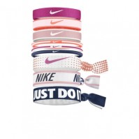 Nike Official Pack Of 9 Ponytail Holders Bobbles Stretchy Hair Band Pink Blue