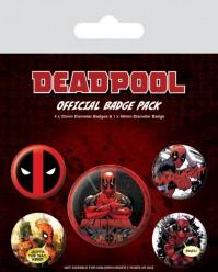 Deadpool Set Of 5 Pin Badges Pack Cartoon Film Animation Official Marvel
