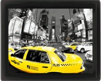 Yellow Taxi Cab Rush Hour New York Times Square Black White 3D Motion Poster