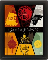 Game Of Thrones Sigils Families Houses 3D Motion TV Show Wall Poster Stark HBO