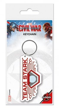Captain America Civil War Team Stark Logo Rubber Keyring Keychain Official
