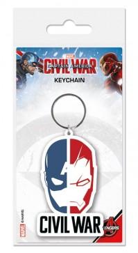 Captain America Civil War Face Off Split Logo Rubber Keyring Keychain Official