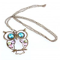 Vintage Owl Necklace Chain Quirky Fashion Costume Jewellery Gift Bronze Womens Ladies Girls By AoE Performance
