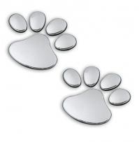 Paw Print 3D Chrome Metal Car Sticker Emblem Badge Decal Dog Cat Bear Pet Animal