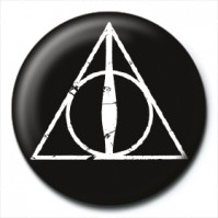 Harry Potter Pin Badge Button Brooch Deathly Hallows Logo Black White Official