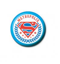 Superman Metropolis 25mm Button Pin Badge DC Comics Justice League Logo