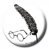 Harry Potter Pin Badge Button Brooch White Black Glasses & Feather Official