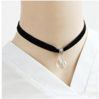 Clear Heart Velvet Choker Necklace Chain Pendant Ladies Girls Goth Tattoo Lace