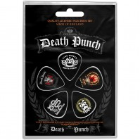 Five Finger Death Punch Logos Pack Of Five Plectrum Pack Guitar Official Rock
