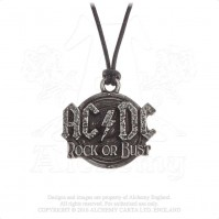 AC/DC Official Rock Or Bust Pendant Pewter Necklace Heavy Metal Charm Logo
