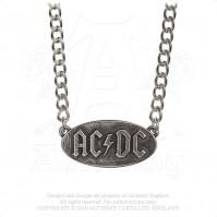 AC/DC Official Logo Tag Pendant Pewter Chain Necklace Charm Metal