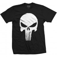 Marvel Comics Black White Punisher Jagged Skull T-Shirt Mens XXLarge Official