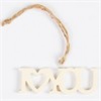 I Love You Laser Cut Hanging Decoration Cream Resin Car Wall