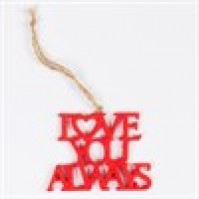 Love You Always Laser Cut Hanging Decoration Red Resin Car Wall