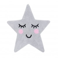 Sweet Dreams Grey Star Cotton Rug Bedroom Nursery cosy Star Playroom Novelty
