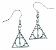 Deathly Hallows Earrings Harry Potter Official Silver Plated Jewellery Drop Hook