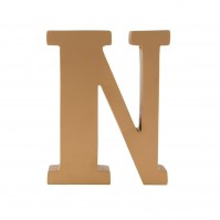Gold Wooden Letter N Free Standing Spell 3D Alphabet Simplistic Decoration