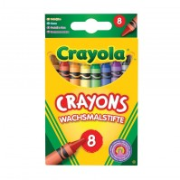 Crayola 8 Pack Coloured Crayons Kids Children Draw Colour School Stationery
