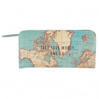 Vintage Map Take Your Money & Go Wallet World Travel Cash Coins