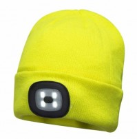 Portwest LED Head Light Neon Yellow Beanie 150 Lumens Hat USB Charge Torch