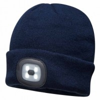 Portwest LED Head Light Navy Blue Beanie 150 Lumens Hat USB Charge Torch