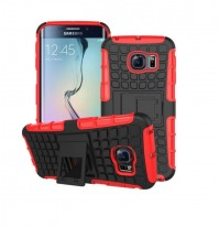 Red Shockproof Tough Rubber Samsung Galaxy S6 Edge Phone Cover Case Protector With Stand