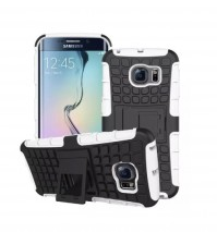 White Shockproof Tough Rubber Samsung Galaxy S6 Phone Cover Case Protector With Stand