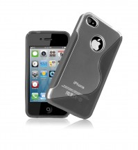 Apple iPhone 4 Grey S Line Skin Case Cover Protector Gel Clear Exact Fit
