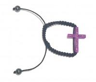 Shamballa Bracelet Purple Black Cross Band Christian Catholic Diamante 35x22
