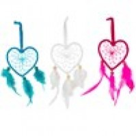 Heart Dream Catcher with Feathers and Beads 8 x 18 cm Charm Romantics Hanging