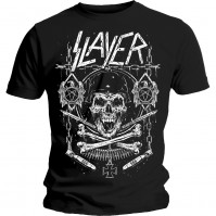 Slayer Men's Black Short Sleeved T-Shirt Skull & Bones Revised Rock Official