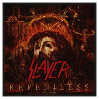 Slayer Repentless Logo Motif Standard Square Sew On Patch Badge Band Rock