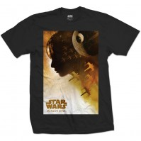 Star Wars Men's Black T-Shirt Rogue One Jyn Silhouette