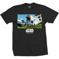 Star Wars Mens Black T-Shirt Rogue One AT-AT March