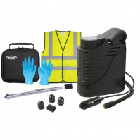 Ring Tyre Maintenance Kit with Compressor Inflator Hi Vis Jacket Carry Case Car