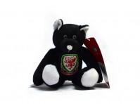 Wales Welsh Football FA Mini Soft Plush Black Beanie Bear Badge Crest Official