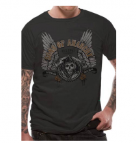 Sons Of Anarchy Distressed Winged Logo Grey Short Sleeve Unisex T-Shirt Jax