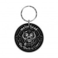 Lemmy Motorhead The World Is Yours Silver Black Metal Keychain Keyring Official