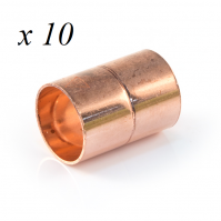 10 x Copper End Feed Straight Coupling 15mm F x F Fitting Plumbing Joining Pipe