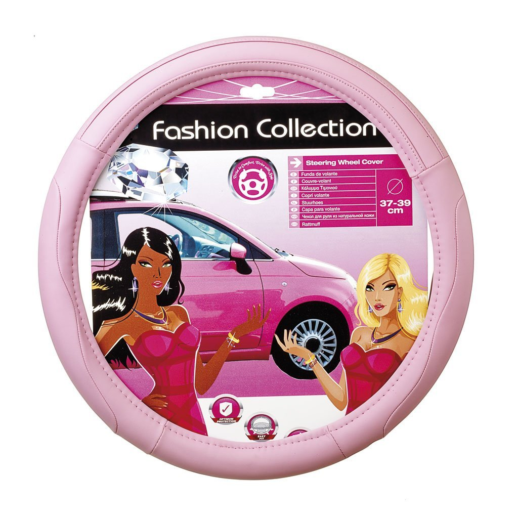 Black Soft Leather Pink Stitching Car Steering Wheel Cover Glove Girls Ladies