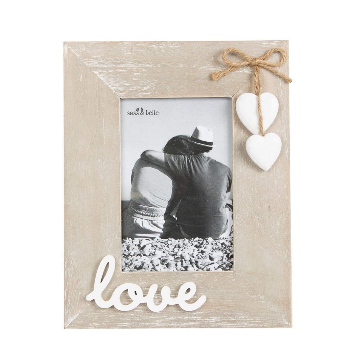 Ashley Farmhouse Wooden Love Standing Photo Frame Rustic Couple ...