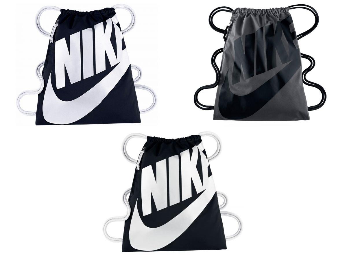 d98abd6fb Nike Heritage Gym Bag Black Navy White Sport Drawstring School Backpack  Football
